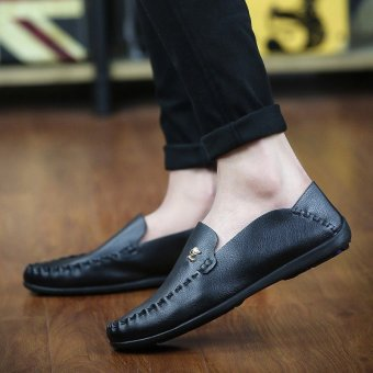 Men Shoes Flat Shoes brand genuine leather Loafers Dress Shoes Handmade cattlehide SZ506B120D(black) - Intl