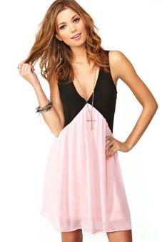 Toprank Women Summer Dress Sexy Sleeveless Chiffon Dress Spliced Hollow Out Back Deep V Neck Wear Plus Sizes ( Pink ) - Intl