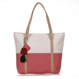 WiseBuy Women PU Leather Hand Bag Handbag Shoulder Tote Beige+Watermelon Red - INTL