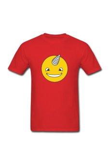 Men's Unicorn Smiley Custom T-Shirt for red - Intl