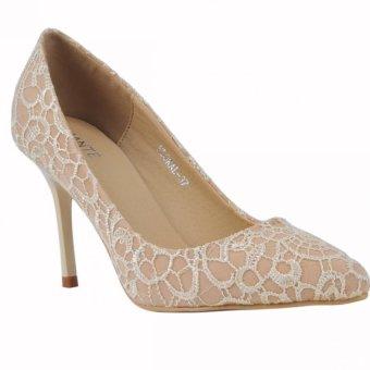 Amante Heels Shoes Floral-D16 - Beige