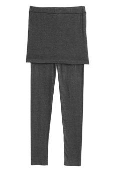Toprank Winter Women Two-Piece Hips Leggings Pantskirt Solid Mini Skirt Slim Fit Fashion With ( Grey )