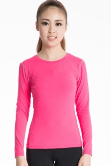 Woman's Super Flexible Long Sleeve For Yoga And Fitness T-shirt (Pink)(INTL)