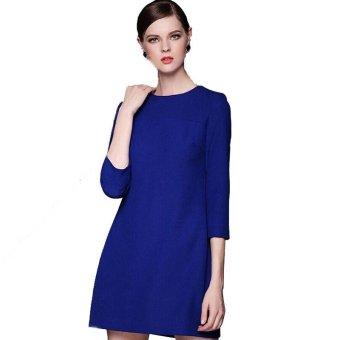 2015 New Winter Clothes Plus Size Fat OL Loose Dresses (Blue)- Intl