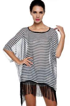 ASTAR New Fashion Women's 3/4 Sleeve O-neck Stripe Chiffon Long Loose Tassel Blouse Shirt Top (Intl) (Intl)