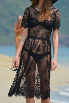 Sunwonder Sheer Lace Floral Beach Dress (Black) (Intl)