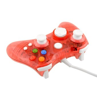 Aukey USB Wired Clear LED Glow Gaming Controller Joystick for Xbox 36 (Red)