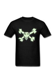 Men's Straight Edged Jolly Roger Custom T-Shirt for black - Intl
