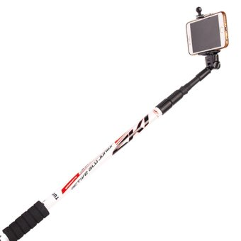 360DSC Multifunction 3-Section Retractable Straight Shank Mountaineering Stick Trekking Pole with Bluetooth Selfie Set - White - Intl