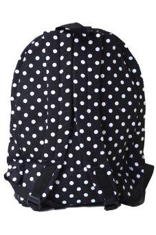 Bags Hearted Classic Polkadot Backpack - Hitam