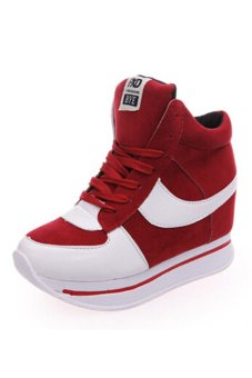 Women's Sport Shoes Height-Increasing Shoes High-Cut Sneaker (Red) - Intl