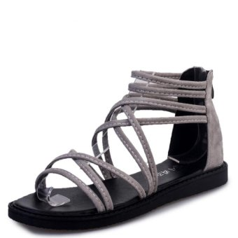 South Korea explosion models of new shoes Roman shoes sandals flat shoes(grey) (Intl)