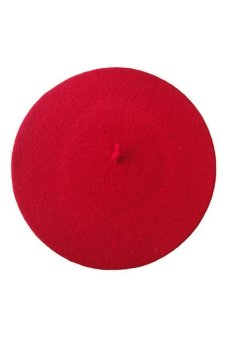 Solid Color Warm Wool Beret Beanie Hat (Red)