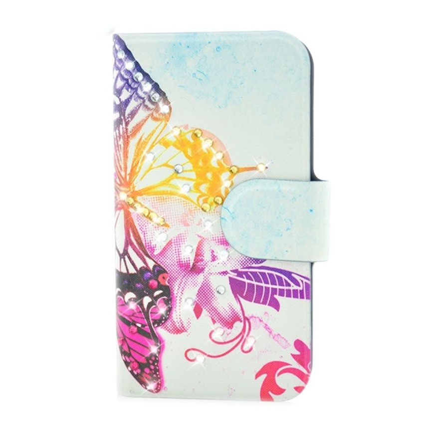 Rhinestone Colorful Big Butterfly Design Card Slot Magnetic PU Leather Flip Case Cover Compatible For HTC Windows Phone 8S A620E A620D