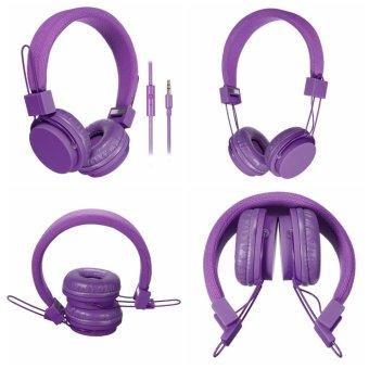 Autoleader 3.5mm Jack Over-Ear Folding Headband Adjust Earphone Stereo Headset For Phone PC Purple (Intl)