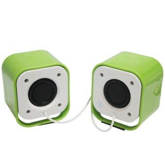 Portable Mini Computer USB Port Speaker Set (Green)