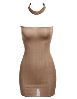 Cyber Women Fashion Sexy Strapless Sleeveless Solid Bodycon Mini Dress Party Club Wear (Khaki) (Intl)