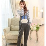 Plaka Pregnant Cartoon Suspender Trousers Maternity Overalls Women Pregnant Pants, Dark Gray,One Size Only (Intl)