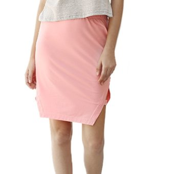 Women Midi Skirt Placketing Sheathy Pure Color (Pink) - Intl
