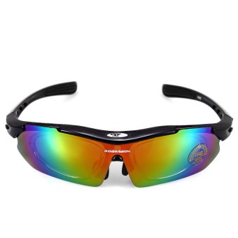 Robesbon 0089 Men Cycling Eyewear Outdoor Cycling Glasses Bicycle Bike UV400 Sports Sun Glasses 5 Lenses Selection (BLACK) - Intl
