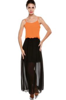 Azone Meaneor Stylish Sexy Ladies Women Chiffon Spaghetti Straps Splicing Color Maxi Long Full Dress (Orange) - Intl