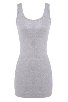 ASTAR Women Sleeveless O-Neck Slim Vest Bodycon Mini Dress Gray(Intl)- Intl