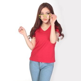 Kaos Polos Katun Wanita V Neck Size S - 81105 / T-Shirt - Merah
