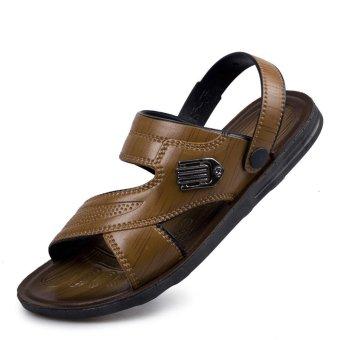 Men's Fashion Leather Sandals Casual Beach Flip-Flops Home Slipper160704-HJ075(Brown) - INTL