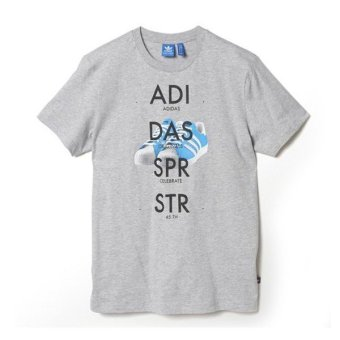Adidas Pakaian Pria Sst Shoe Tee S89945 - Abu-Abu