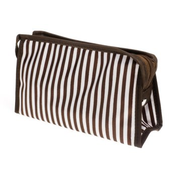 S & F Cosmetic Hand Bag (Brown/White)