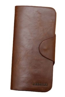 Luxury Mens Leather Long Wallet Pockets ID Card Clutch Bifold Purse Coffee- Intl