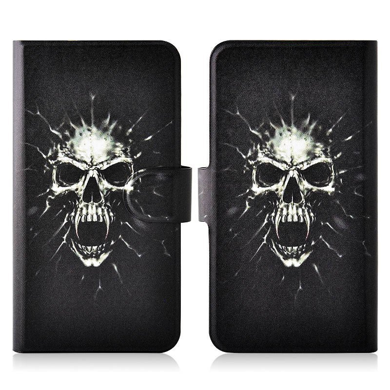 Hot Terror Bkack Skull PU Leather New Flip Case Cover For HTC 9060 901e Butterfly S
