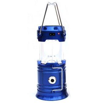 GoSport Outdoor Solar Power 2 in 1 Lantern Rechargeable Night Light Camping + Flashlight (Blue) - Intl