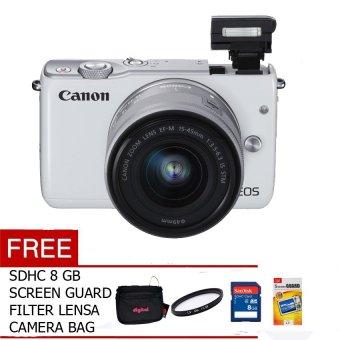 harga Canon EOS M10 EF-M 15-45mm - 18 MP - Putih + Gratis Screen Guard + Memory + Filter + Tas Kamera Lazada.co.id