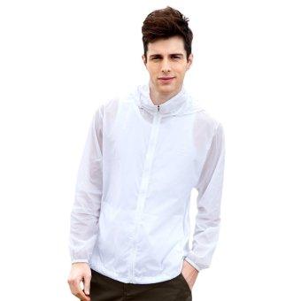 EOZY Fashion Men's Sun-protective Clothing Korean Style Male Windproof Waterproof Jacket Ultra-thin Ultra-light Summer Outdoor Sports Coats (White) - INTL