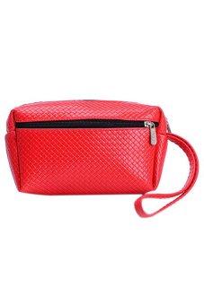 Womens Double-Zips Key Bag Faux Leather Purse Handbag Wallet Red