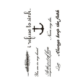 Temporary Tattoo Black Love & Letter Transfer