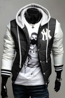 Hequ Leisure Hooded Spell Color Baseball Style Coat Winter Active Casual Parka Cotton Jacket (Black) (Intl)