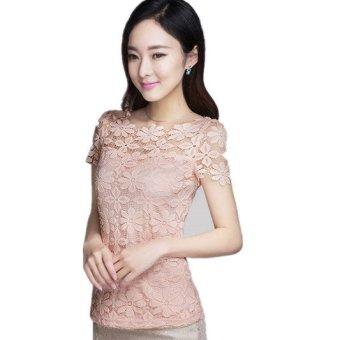 Summer New Women's Blouse Fashion Casual Lace Shirt plus size XL XXXL XXXXL XXXXXL Pink (Intl)