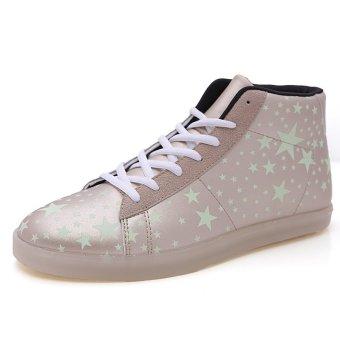 PINSV Men Fashion Sneakers High Cut Fluorescent Shoes(Gold) - Intl