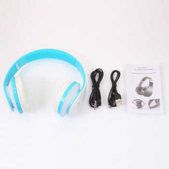 NX-8252 Foldable Wireless Stereo Sports Bluetooth Headphone Headset with Mic for iPhone/iPad/PC Blue & White