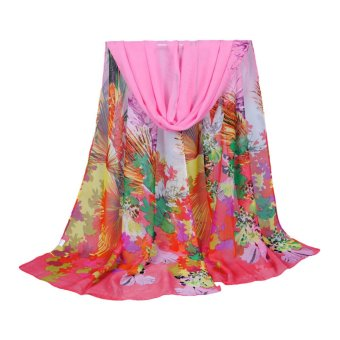 New Women Chiffon Scarf Contrast Leaves Print Long Shawl Colorful Fashion Pashmina (Intl)