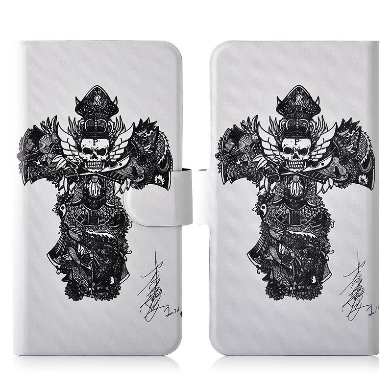Sketch Black Skull PU Leather New Flip Case Cover For HTC Windows Phone 8X C620E