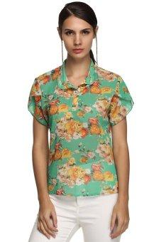 Cyber Finejo Women Casual Stand Collar Short Petal Sleeve Floral Chiffon Blouse ( Green )