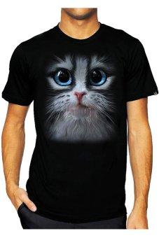 T-Shirt Glory Kaos 3D Kitten Cat - Hitam