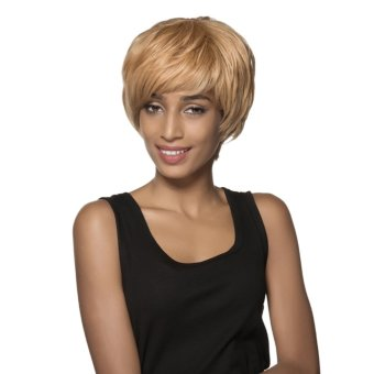 EOZY Fashion Short Anime Wigs 12cm Cosplay Wigs Full Straight Natural Human Hair Wig for Women (Golden Blonde) (Intl)
