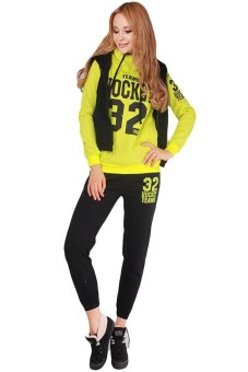 HengSong Women Sport Suits Hoodies Sportswear 3pcs Coat+Vest+Pants Yellow - Intl