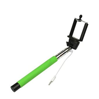 Wired Extendable Selfie Stick Monopod - Green (Intl)