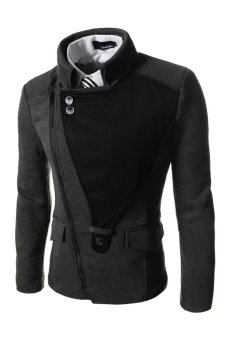 TheLees Casual Rider Style Stretchy Slim Zipper Jacket Jumper Charcoal - Hitam
