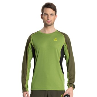 Men Outdoor Sports Quick Dry Long Sleeve T Shirts for Hiking Mountain Camping Tees Tops Clothes – Green - INTL